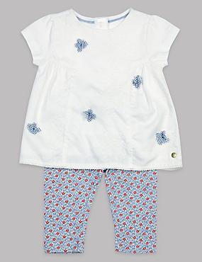 2 Piece Applique Top & Leggings Outfit, WHITE MIX, catlanding