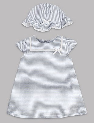 3 Piece Pure Cotton Striped Dress with Knickers & Hat, BLUE MIX, catlanding
