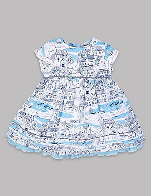 Pure Cotton Baby Dress , WHITE MIX, catlanding