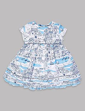 Pure Cotton Baby Dress , WHITE MIX, catlanding