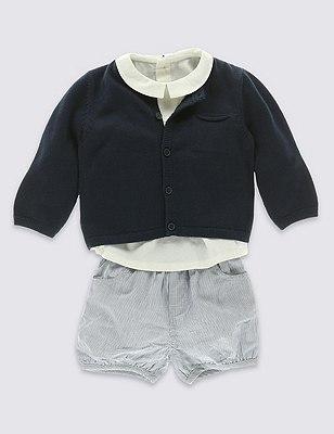 3 Piece Pure Cotton Shirt, Striped Shorts & Cardigan Outfit, BLUE MIX, catlanding