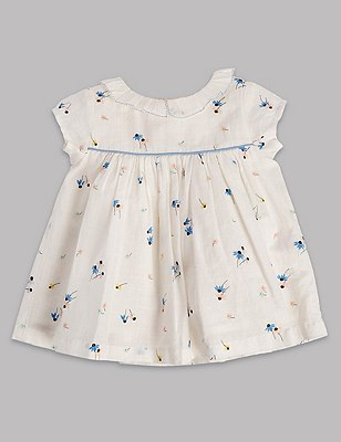 2 Piece Pure Cotton Floral Blouse & Shorts Outfit, MULTI, catlanding