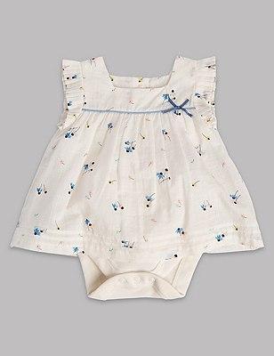Pure Cotton Floral Woven Short Sleeve Bodysuit, WHITE MIX, catlanding