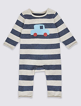 Pure Cotton Car Print Knitted All in One, BLUE MIX, catlanding