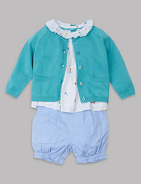 3 Piece Pure Cotton Cardigan & Top with Shorts Outfit, MULTI, catlanding