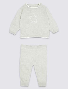 2 Piece Knitted Top & Bottom Outfit, GREY MARL, catlanding
