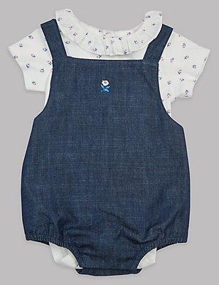 2 Piece Pure Cotton Bodysuit & Dungarees Outfit, DENIM MIX, catlanding