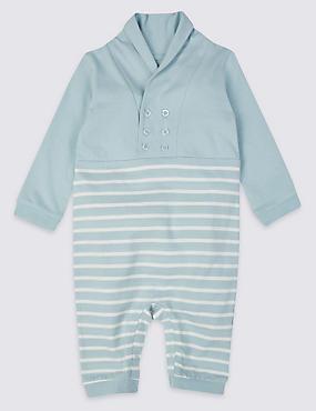 Striped Pure Cotton All-in-One, WINTER WHITE, catlanding