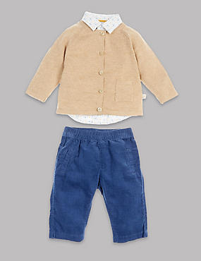 3 Piece Cotton Shirt and Cord Trouser with knitted cardigan, BLUE MIX, catlanding