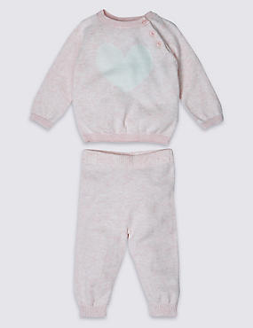 2 Piece Pure Cotton Heart Print Knitted Outfit, PINK MIX, catlanding