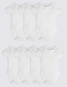7 Pack Pure Cotton Bodysuits, WHITE, catlanding