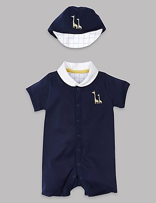 Pure Cotton Romper with Hat Outfit, LIGHT NAVY, catlanding