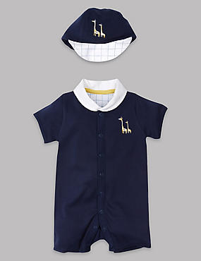 Pure Cotton Romper with Hat, LIGHT NAVY, catlanding