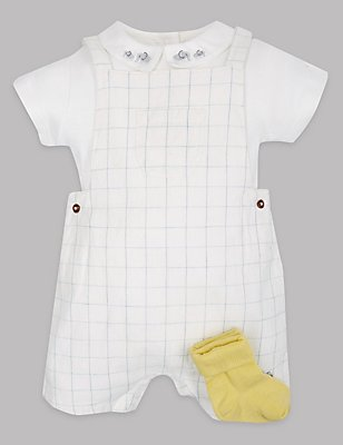 3 Piece Cotton Rich Dungarees Outfit, WINTER WHITE, catlanding