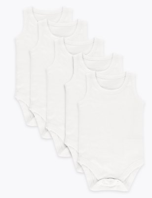 5 Pack Flat Seams Baby Bodysuits, WHITE, catlanding