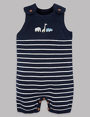 Pure Cotton Knitted Dungarees , NAVY, catlanding