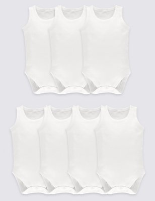 7 Pack Unisex Pure Cotton Bodysuits, WHITE, catlanding