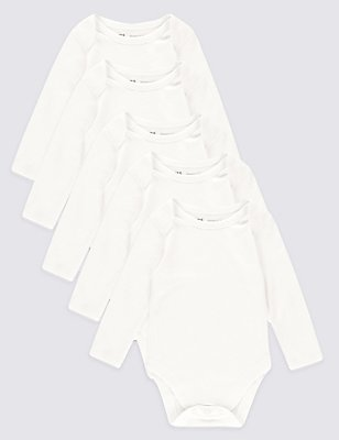 5 Pack Pure Cotton Skin Kind Baby Bodysuits, WHITE, catlanding