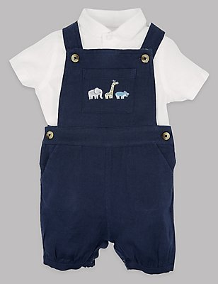 2 Piece Cotton Rich Shirt & Dungarees Outfit, LIGHT NAVY, catlanding