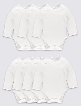 7 Pack Flat Seams Pure Cotton Bodysuits, WHITE, catlanding