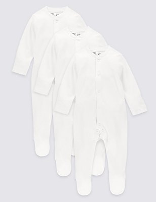 3 Pack Pure Cotton Skin Kind™ Sleepsuits, WHITE, catlanding