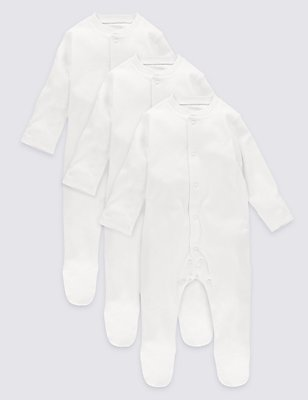 3 Pack Pure Cotton Baby Sleepsuits, WHITE, catlanding