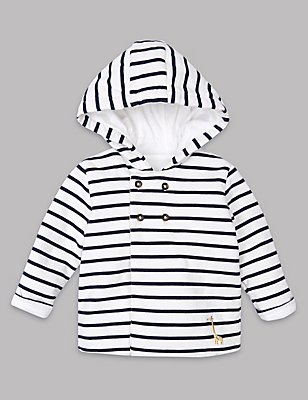 Pure Cotton Striped Hooded Jacket, NAVY MIX, catlanding