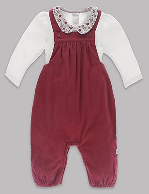 2 Piece Baby Dungarees & Bodysuit Outfit , PINK MIX, catlanding