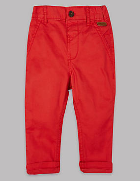 Pure Cotton Baby Trousers, RED, catlanding