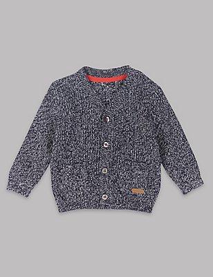 Pure Cotton Baby Cardigan, NAVY MIX, catlanding