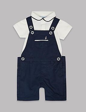 2 Piece Dungarees & Bodysuit Outfit, NAVY MIX, catlanding