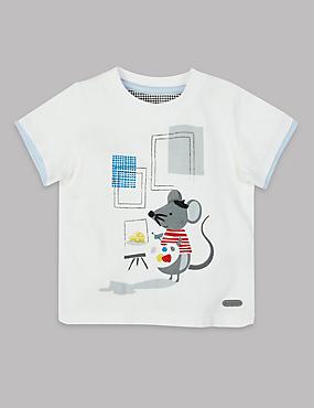 T-shirt 100% coton à imprimé , BLANC ASSORTI, catlanding