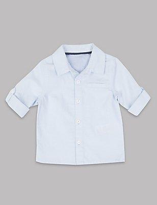 Linen Blend Long Sleeve Shirt, BLUE, catlanding