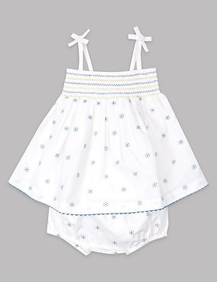 2 Piece Pure Cotton Dress with Knickers Outfit, WINTER WHITE, catlanding
