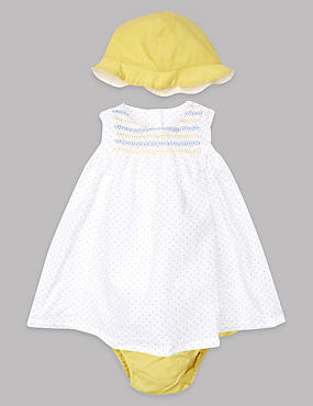 3 Piece Pure Cotton Dress & Knickers with Hat Outfit, WINTER WHITE, catlanding