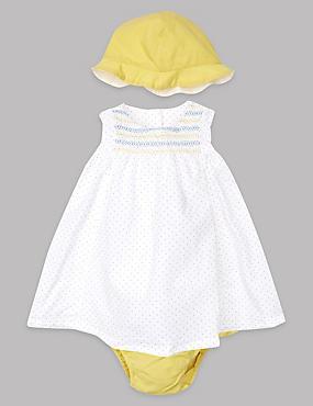 3-teiliges Outfit aus reiner Baumwolle mit Kleid, Unterhose und Mützchen, WINTERWEISS, catlanding