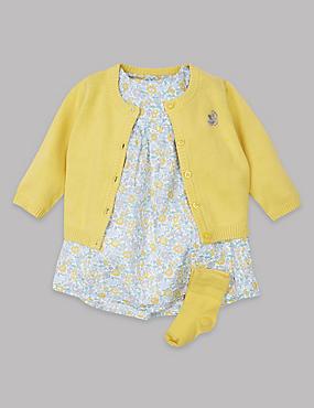 3-teiliges Outfit aus Kleid, Strickjacke und Socken, MEHRFARBIG, catlanding