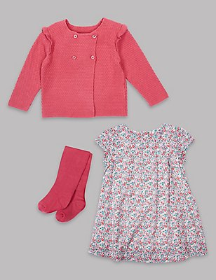 3 Piece Frill Cardigan & Dress with Tights Outfit, PINK MIX, catlanding