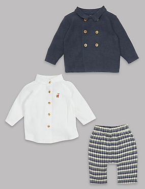 3 Piece Cardigan & Shirt with Trousers Outfit, NAVY MIX, catlanding