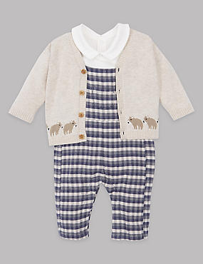 3 Piece Bodysuit & Cardigan with Dungaree Outfit, GREY MIX, catlanding