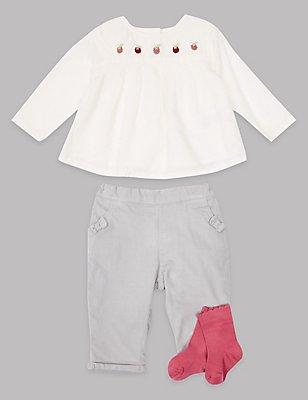 Ensemble 3pièces avec top, pantalon en velours côtelé et chaussettes, ROSE ASSORTI, catlanding
