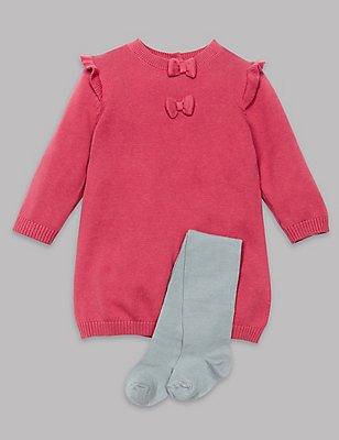 2-teiliges Outfit aus Kleid mit Rüschen und Strumpfhose, ROSA MELANGE, catlanding