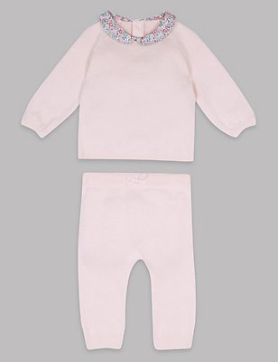 2 Piece Pure Cotton Top & Bottom Outfit, PINK MIX, catlanding