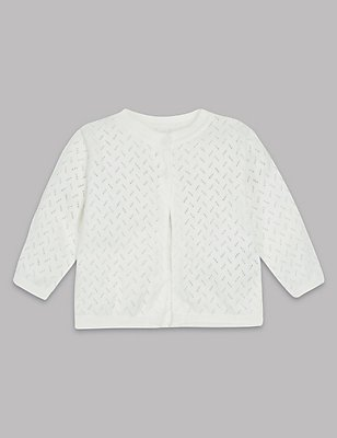 Pure Cotton Pointelle Cardigan, WINTER WHITE, catlanding