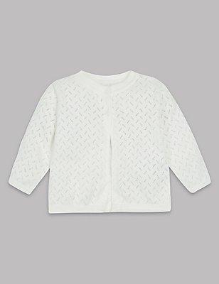 Zuiver katoenen vest met pointelle-dessin, WINTERWIT, catlanding