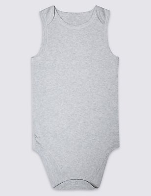 Pure Cotton Sleeveless Bodysuit (3-16 Years), GREY MARL, catlanding
