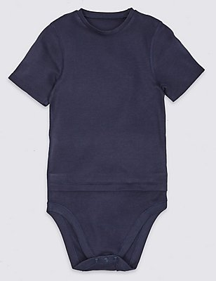 Short Sleeve Bodysuit with Popper Tummy (3-16 Years), INDIGO, catlanding