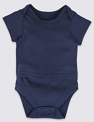Pure Cotton Short Sleeve Bodysuits with Popper Tummy (0-3 Years), INDIGO, catlanding