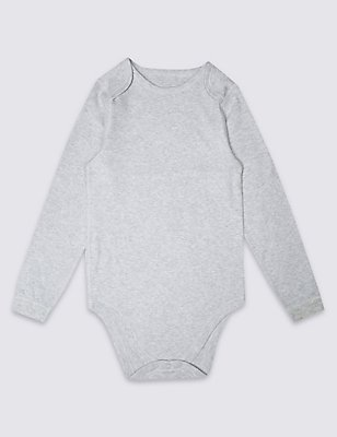 Pure Cotton Long Sleeve Bodysuit (3-16 Years), GREY MARL, catlanding