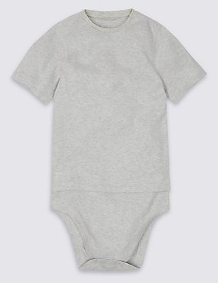 Short Sleeve Bodysuit with Popper Tummy (3-16 Years), GREY MARL, catlanding
